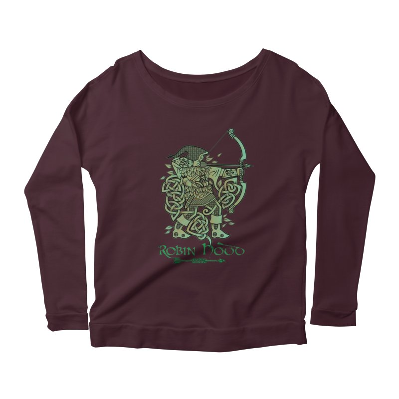 Robin Hood (Green Copper Version) Women's Longsleeve Scoopneck  by Celtic Hammer Club Apparel
