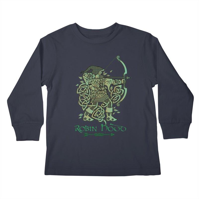 Robin Hood (Green Copper Version) Kids Longsleeve T-Shirt by Celtic Hammer Club