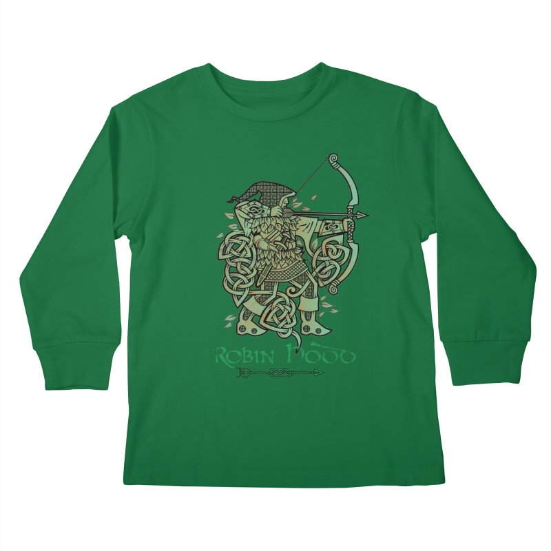 Robin Hood (Green Copper Version) Kids Longsleeve T-Shirt by Celtic Hammer Club Apparel