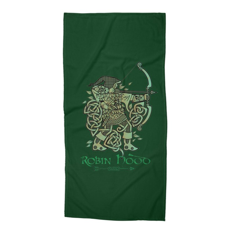 Robin Hood (Green Copper Version) Accessories Beach Towel by Celtic Hammer Club Apparel