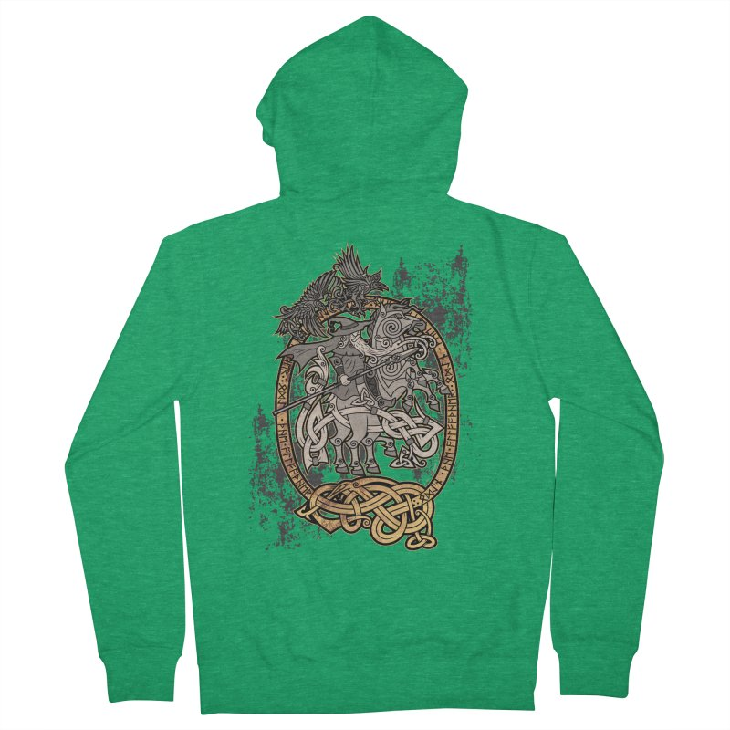 Odin the Wanderer Men's French Terry Zip-Up Hoody by Celtic Hammer Club Apparel