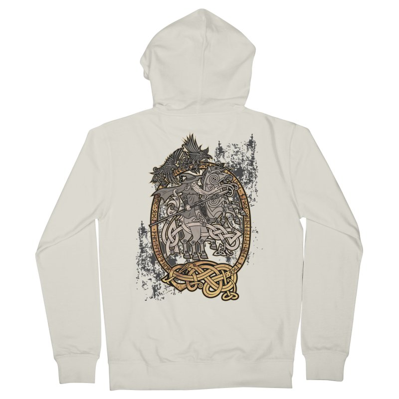 Odin the Wanderer Men's French Terry Zip-Up Hoody by Celtic Hammer Club