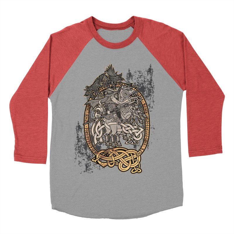 Odin the Wanderer Women's Baseball Triblend Longsleeve T-Shirt by Celtic Hammer Club