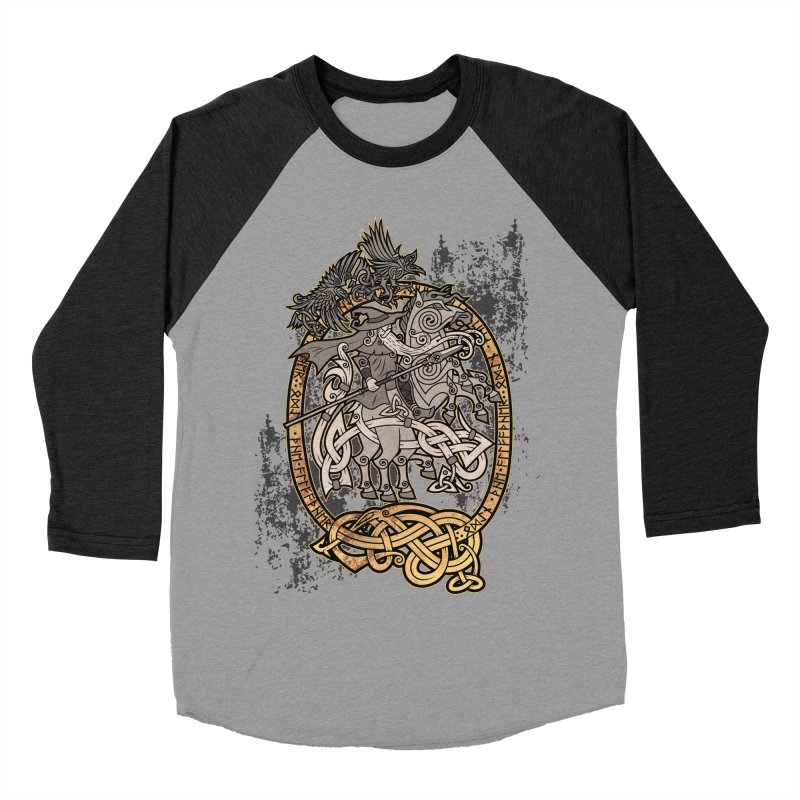 Odin the Wanderer Women's Baseball Triblend Longsleeve T-Shirt by Celtic Hammer Club Apparel