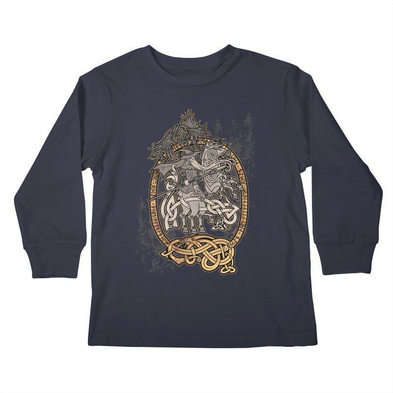 Odin the Wanderer Kids Longsleeve T-Shirt by Celtic Hammer Club