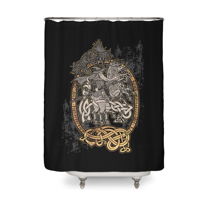 Odin the Wanderer Home Shower Curtain by Celtic Hammer Club Apparel