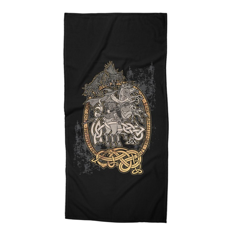 Odin the Wanderer Accessories Beach Towel by Celtic Hammer Club Apparel
