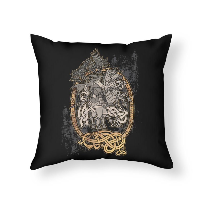 Odin the Wanderer Home Throw Pillow by Celtic Hammer Club Apparel
