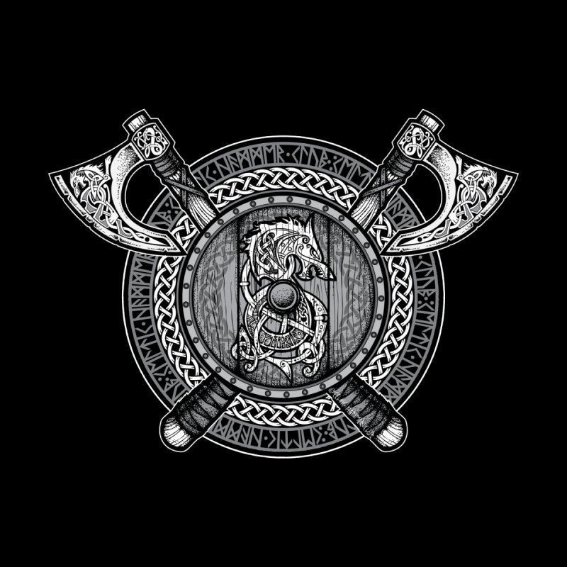 Fenrir Viking Shield (Grayscale) Home Fine Art Print by Celtic Hammer Club