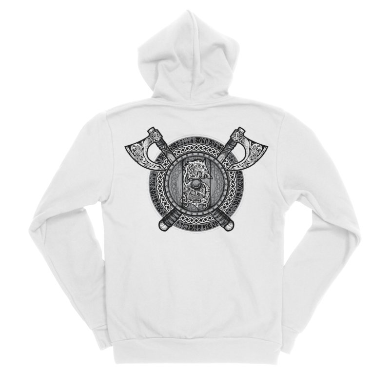 Fenrir Viking Shield (Grayscale) Men's Sponge Fleece Zip-Up Hoody by Celtic Hammer Club Apparel