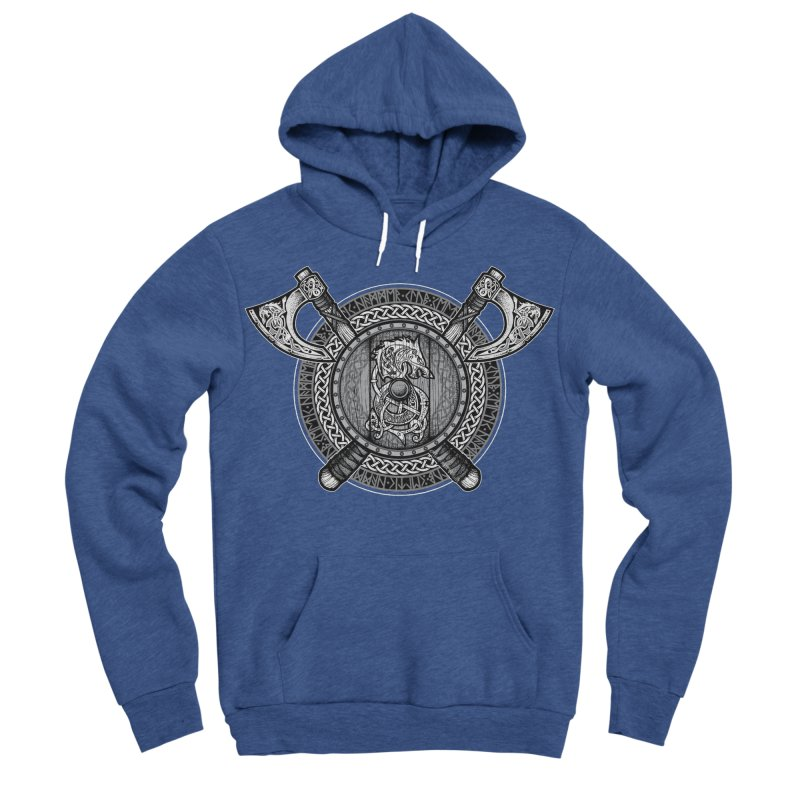 Fenrir Viking Shield (Grayscale) Women's Sponge Fleece Pullover Hoody by Celtic Hammer Club Apparel