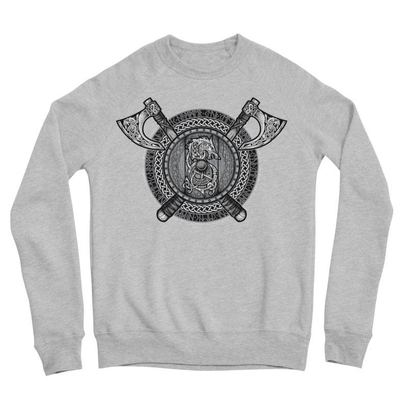 Fenrir Viking Shield (Grayscale) Men's Sponge Fleece Sweatshirt by Celtic Hammer Club Apparel