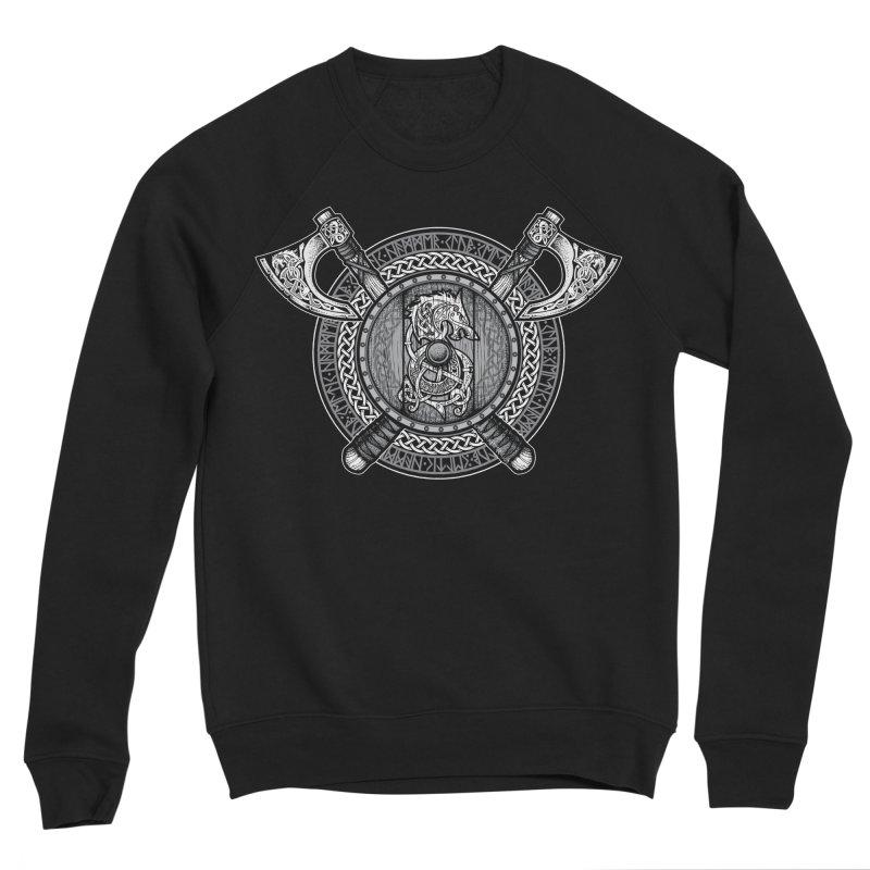 Fenrir Viking Shield (Grayscale) Men's Sponge Fleece Sweatshirt by Celtic Hammer Club
