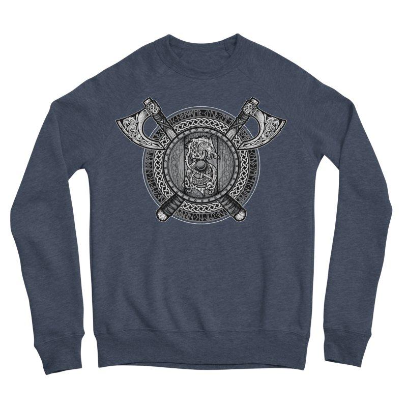 Fenrir Viking Shield (Grayscale) Women's Sponge Fleece Sweatshirt by Celtic Hammer Club