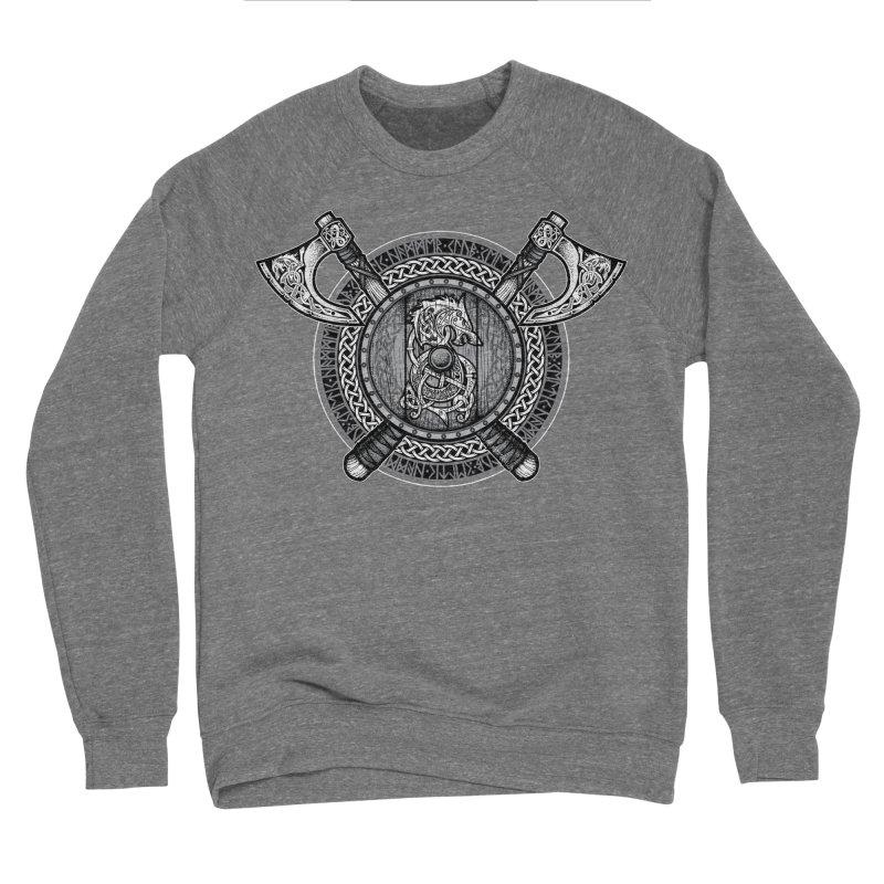 Fenrir Viking Shield (Grayscale) Women's Sponge Fleece Sweatshirt by Celtic Hammer Club Apparel