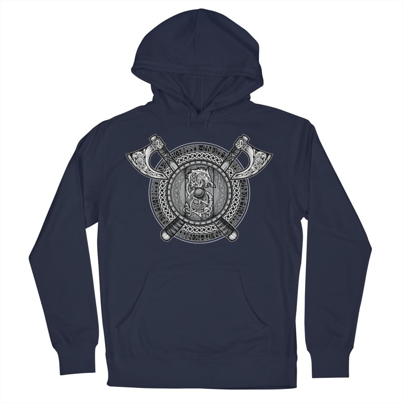 Fenrir Viking Shield (Grayscale) Women's French Terry Pullover Hoody by Celtic Hammer Club Apparel