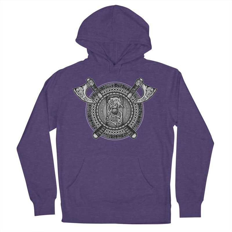 Fenrir Viking Shield (Grayscale) Men's French Terry Pullover Hoody by Celtic Hammer Club