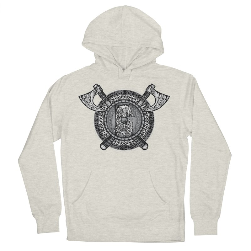 Fenrir Viking Shield (Grayscale) Men's French Terry Pullover Hoody by Celtic Hammer Club Apparel