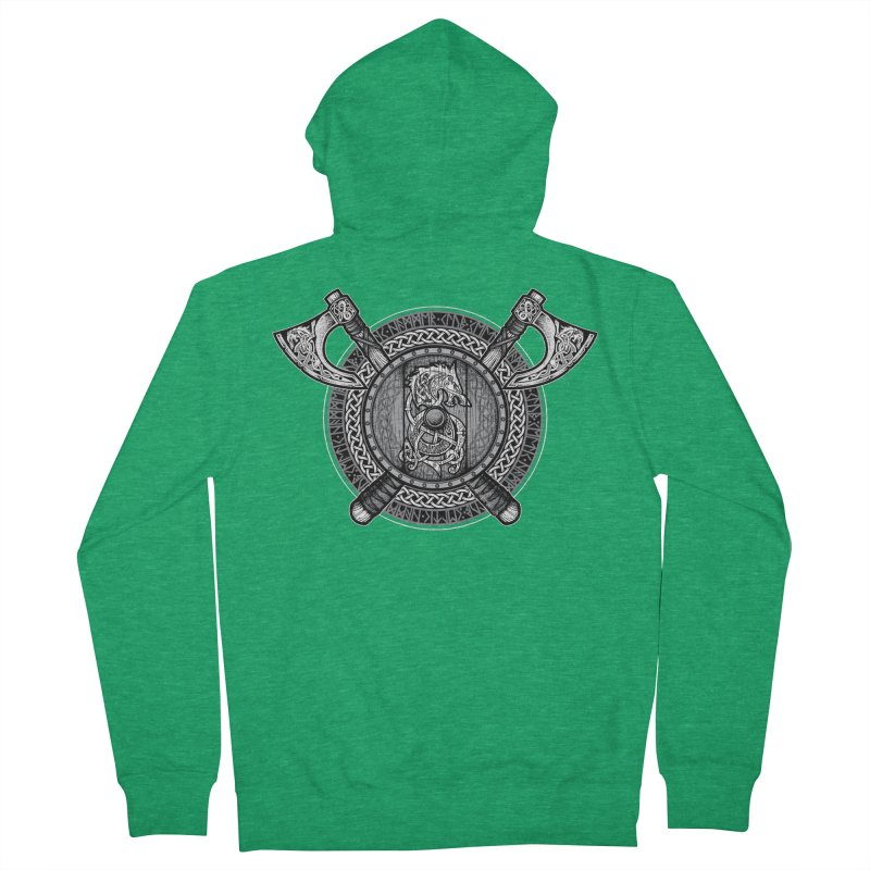Fenrir Viking Shield (Grayscale) Women's Zip-Up Hoody by Celtic Hammer Club