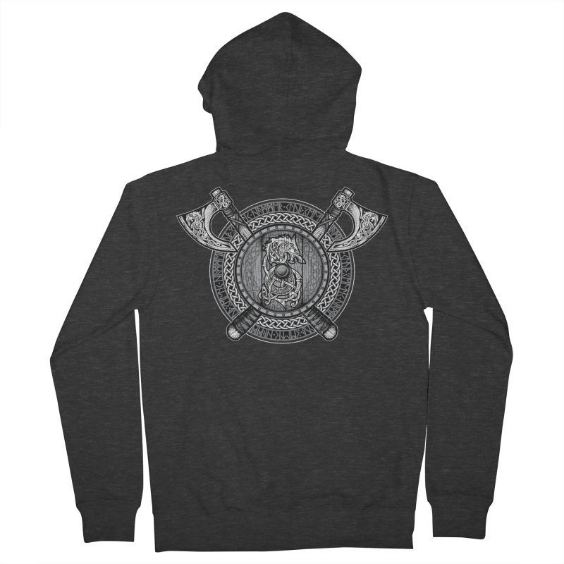 Fenrir Viking Shield (Grayscale) Women's French Terry Zip-Up Hoody by Celtic Hammer Club Apparel