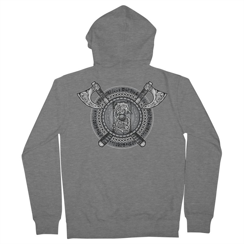 Fenrir Viking Shield (Grayscale) Men's Zip-Up Hoody by Celtic Hammer Club