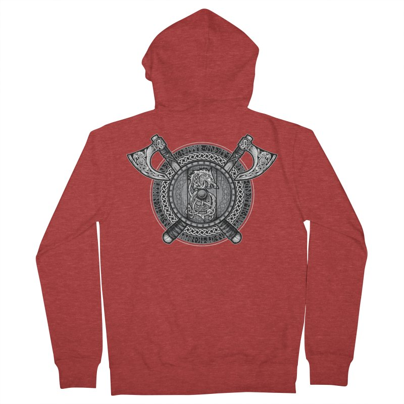 Fenrir Viking Shield (Grayscale) Men's French Terry Zip-Up Hoody by Celtic Hammer Club Apparel