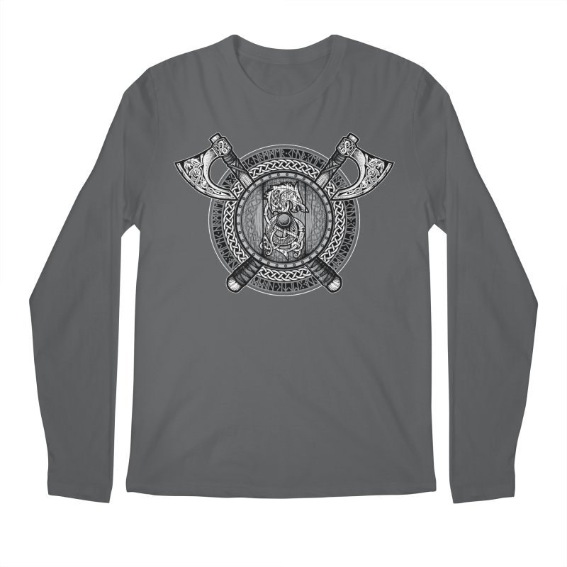 Fenrir Viking Shield (Grayscale) Men's Longsleeve T-Shirt by Celtic Hammer Club