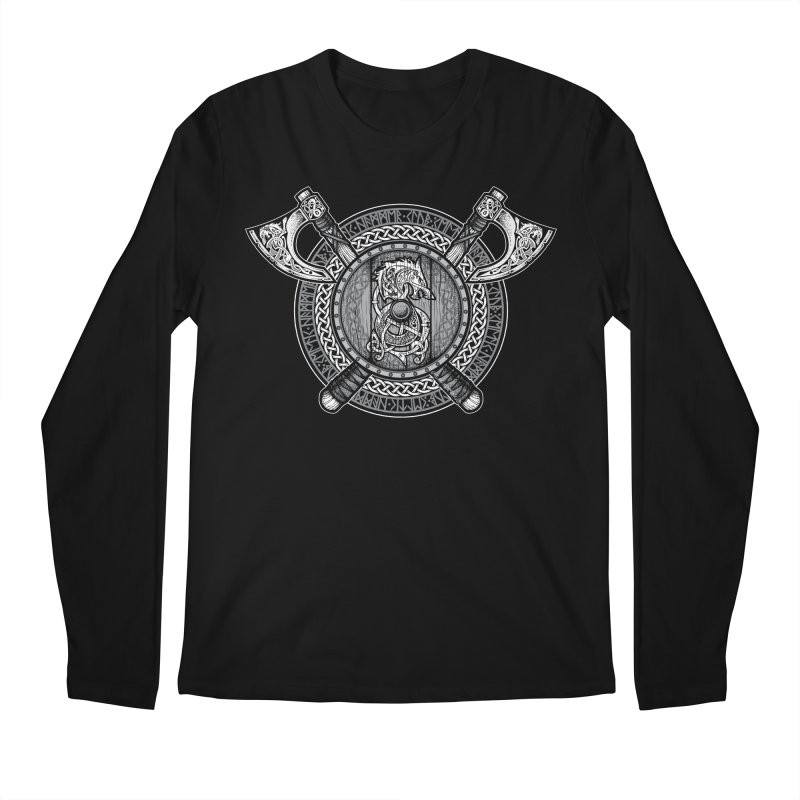 Fenrir Viking Shield (Grayscale) Men's Regular Longsleeve T-Shirt by Celtic Hammer Club Apparel