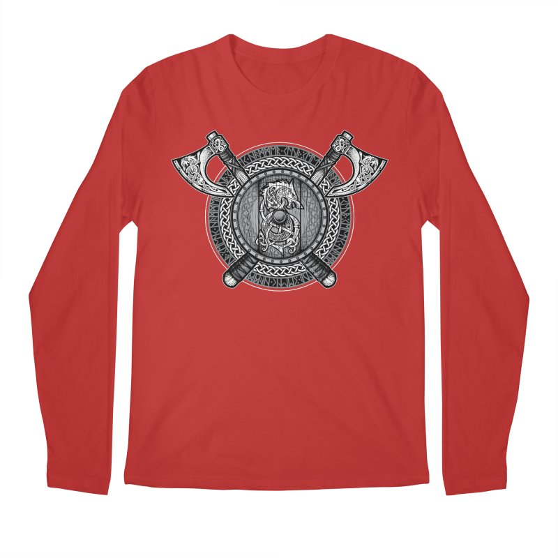 Fenrir Viking Shield (Grayscale) Men's Regular Longsleeve T-Shirt by Celtic Hammer Club