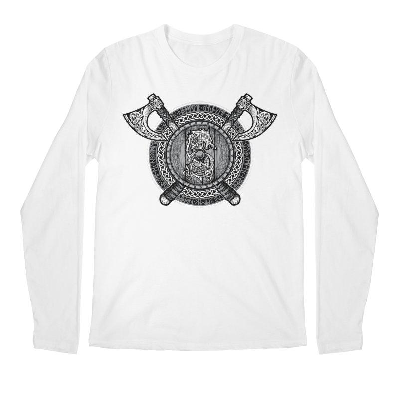 Fenrir Viking Shield (Grayscale) Men's Regular Longsleeve T-Shirt by Celtic Hammer Club