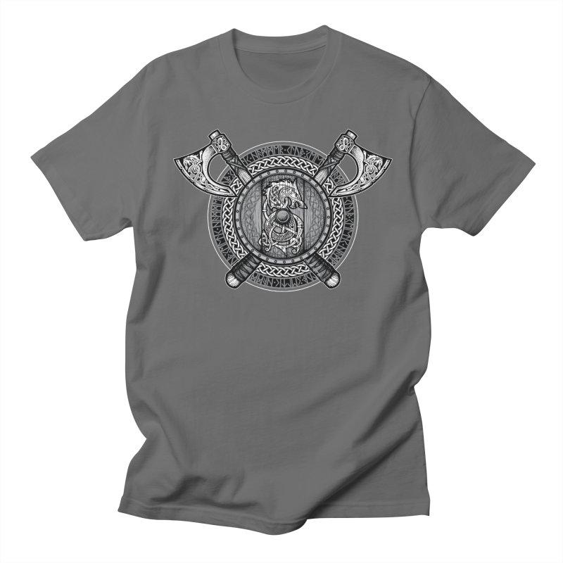 Fenrir Viking Shield (Grayscale) Men's T-Shirt by Celtic Hammer Club