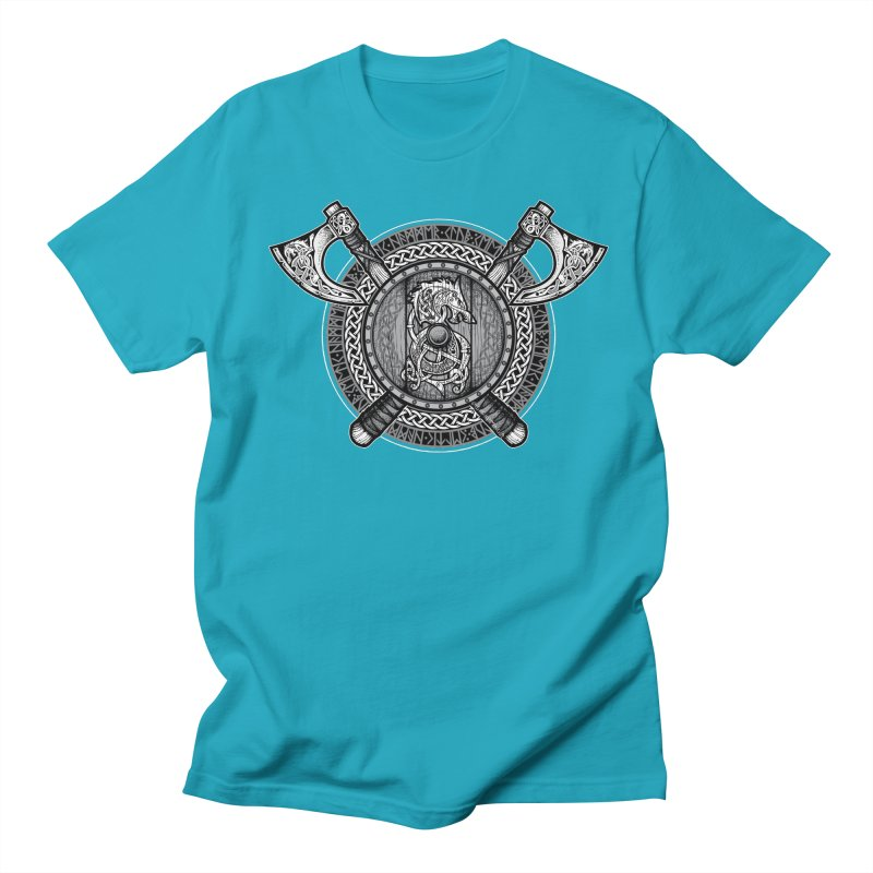 Fenrir Viking Shield (Grayscale) Men's T-Shirt by Celtic Hammer Club