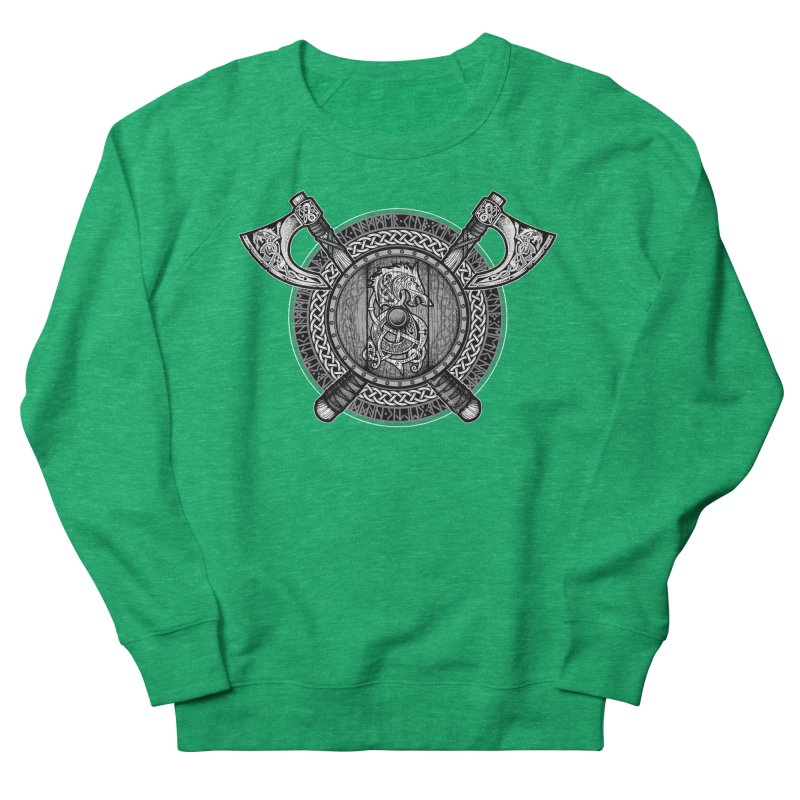 Fenrir Viking Shield (Grayscale) Women's French Terry Sweatshirt by Celtic Hammer Club