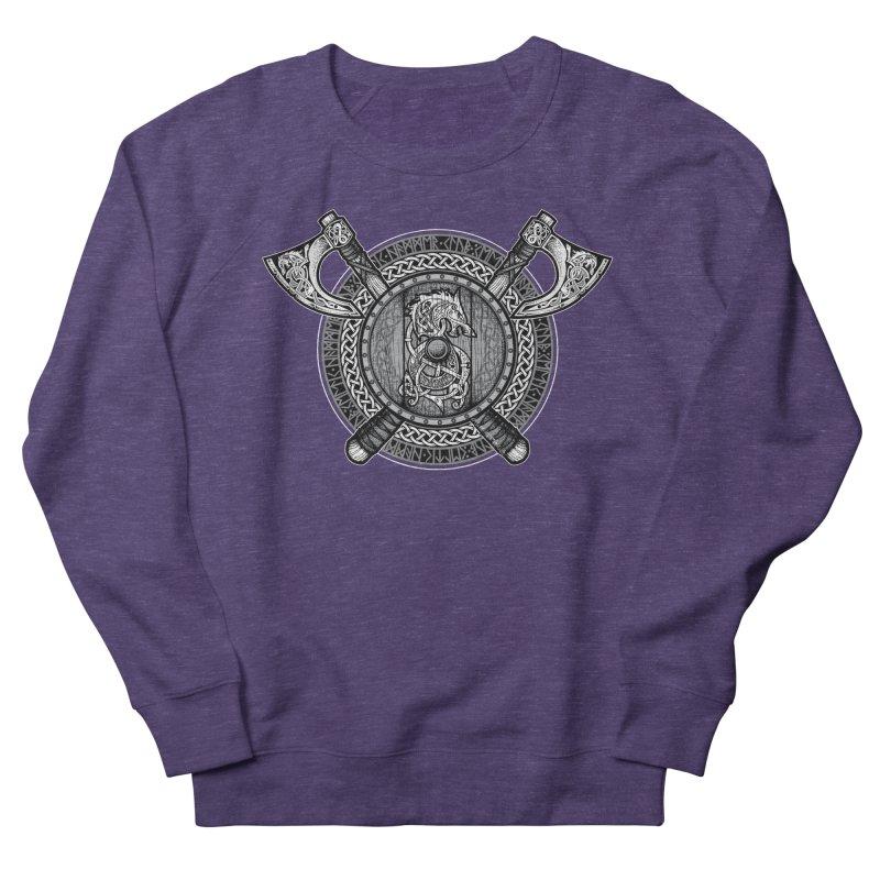 Fenrir Viking Shield (Grayscale) Women's French Terry Sweatshirt by Celtic Hammer Club Apparel