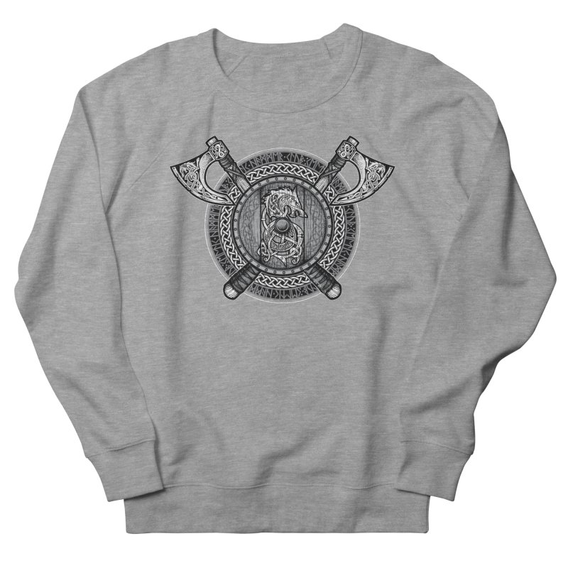 Fenrir Viking Shield (Grayscale) Men's French Terry Sweatshirt by Celtic Hammer Club Apparel