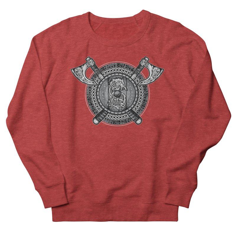 Fenrir Viking Shield (Grayscale) Men's French Terry Sweatshirt by Celtic Hammer Club