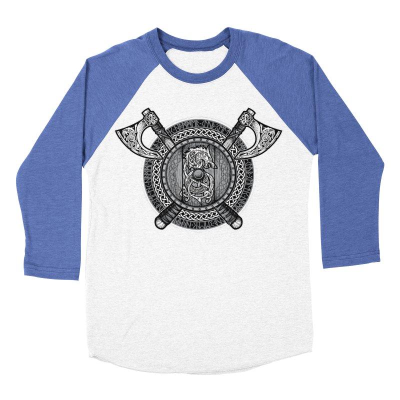 Fenrir Viking Shield (Grayscale) Women's Baseball Triblend Longsleeve T-Shirt by Celtic Hammer Club