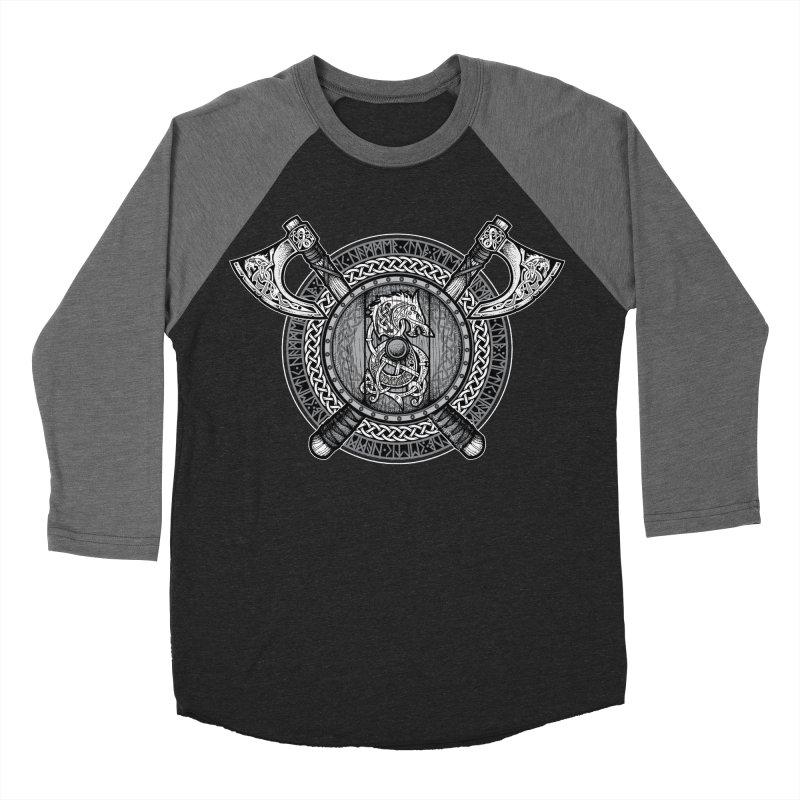 Fenrir Viking Shield (Grayscale) Women's Baseball Triblend Longsleeve T-Shirt by Celtic Hammer Club Apparel