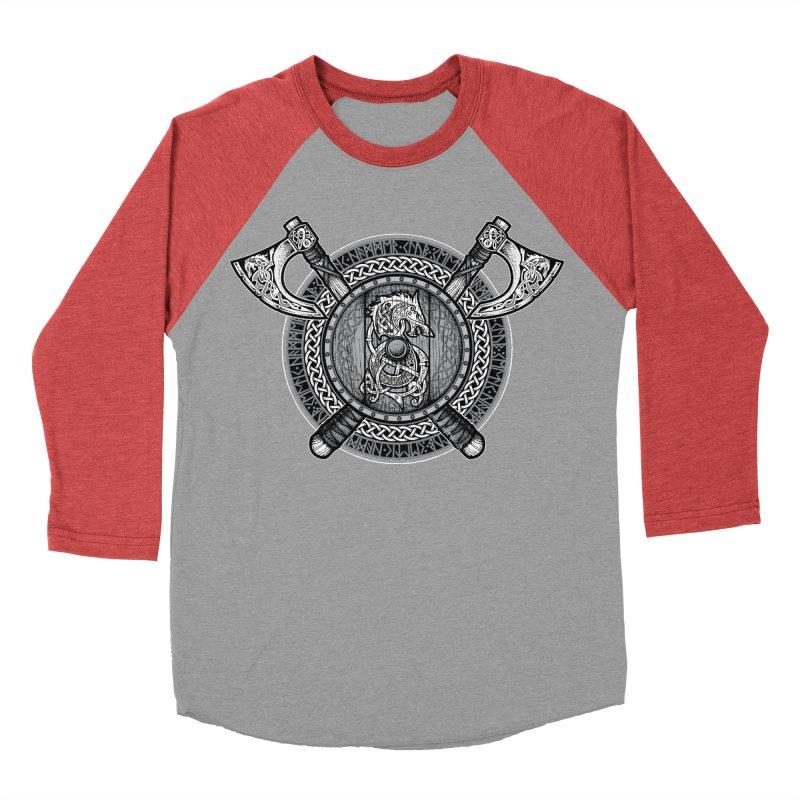 Fenrir Viking Shield (Grayscale) Men's Baseball Triblend Longsleeve T-Shirt by Celtic Hammer Club Apparel