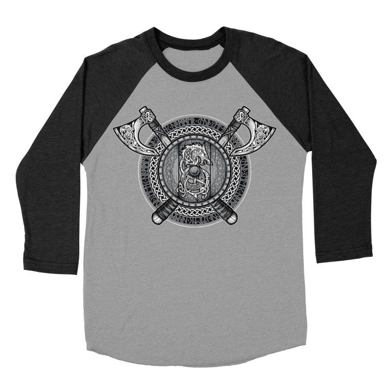 Fenrir Viking Shield (Grayscale) Men's Baseball Triblend Longsleeve T-Shirt by Celtic Hammer Club