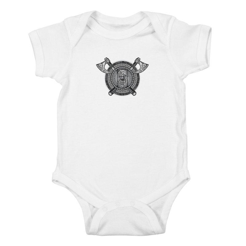Fenrir Viking Shield (Grayscale) Kids Baby Bodysuit by Celtic Hammer Club Apparel