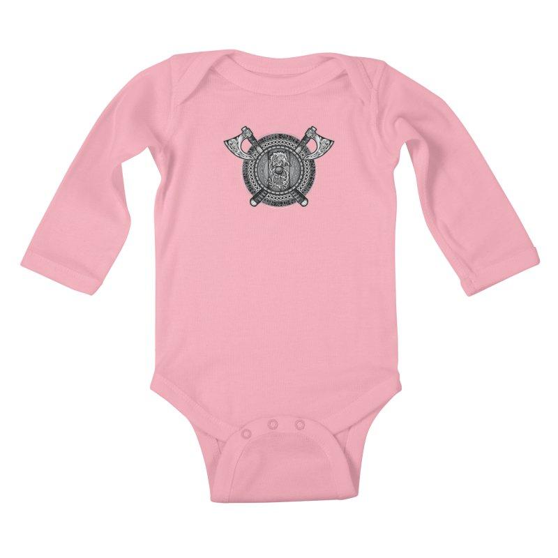 Fenrir Viking Shield (Grayscale) Kids Baby Longsleeve Bodysuit by Celtic Hammer Club