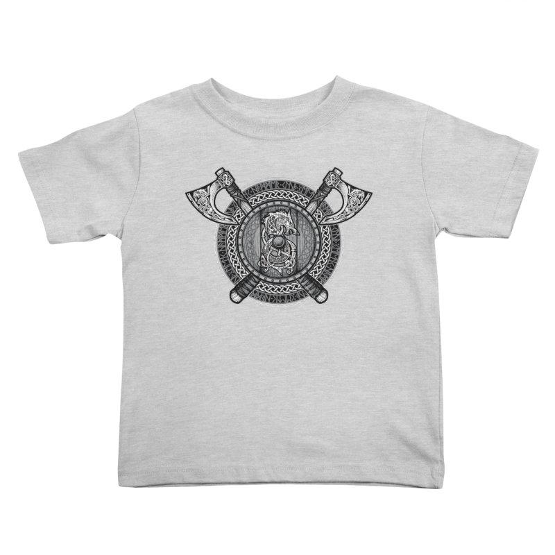 Fenrir Viking Shield (Grayscale) Kids Toddler T-Shirt by Celtic Hammer Club