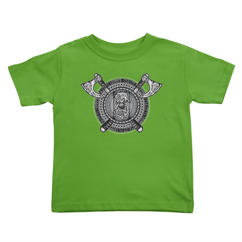 Fenrir Viking Shield (Grayscale) Kids Toddler T-Shirt by Celtic Hammer Club