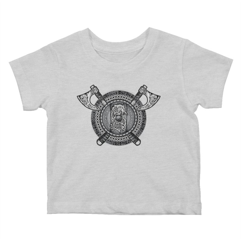 Fenrir Viking Shield (Grayscale) Kids Baby T-Shirt by Celtic Hammer Club Apparel