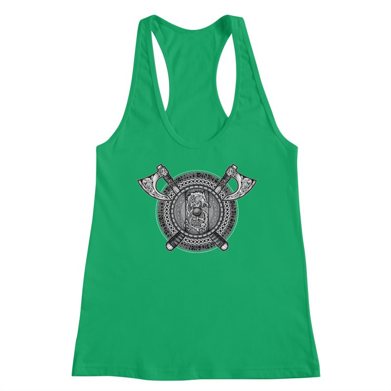Fenrir Viking Shield (Grayscale) Women's Tank by Celtic Hammer Club