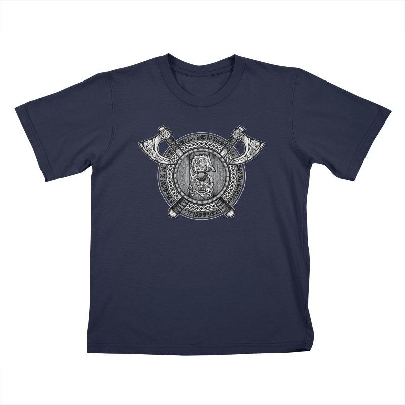 Fenrir Viking Shield (Grayscale) Kids T-Shirt by Celtic Hammer Club