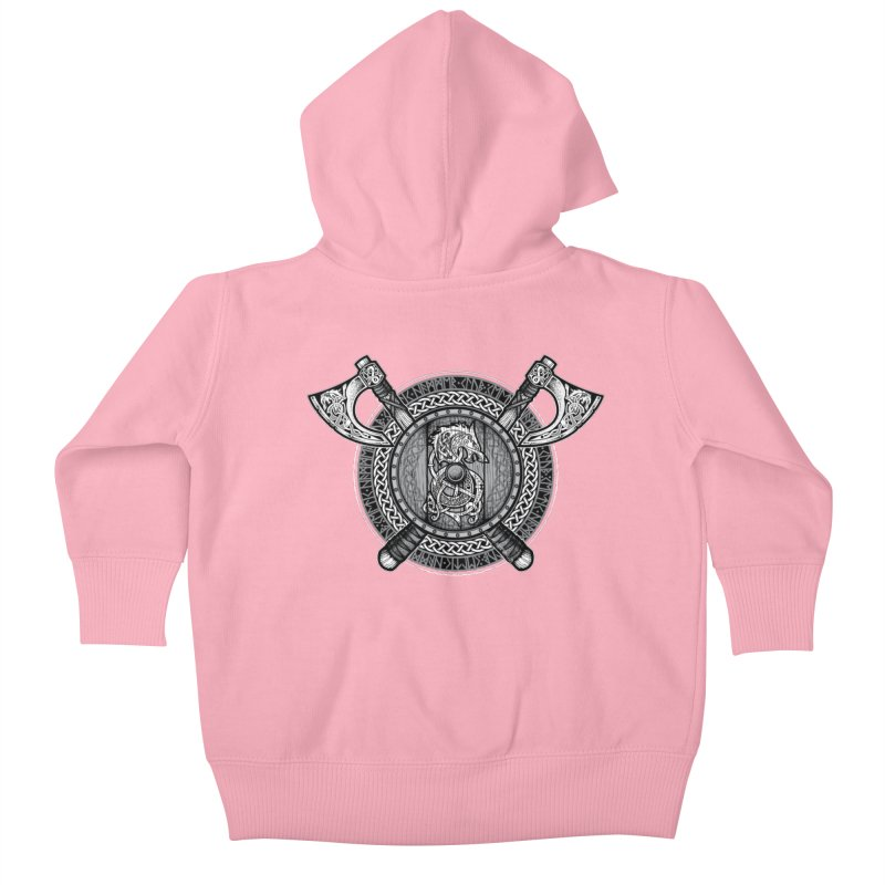 Fenrir Viking Shield (Grayscale) Kids Baby Zip-Up Hoody by Celtic Hammer Club Apparel