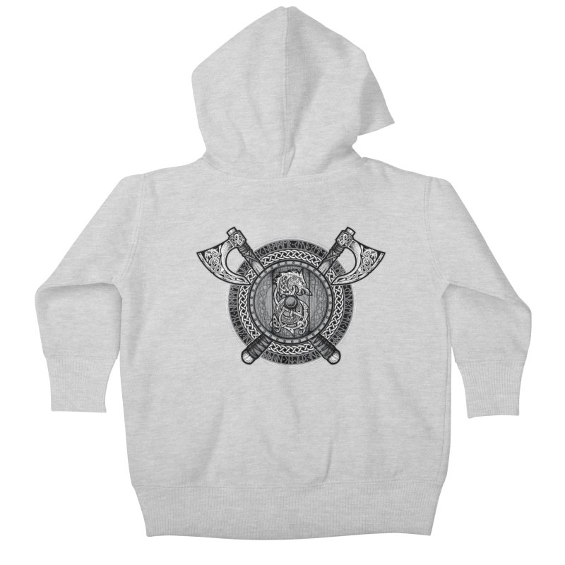 Fenrir Viking Shield (Grayscale) Kids Baby Zip-Up Hoody by Celtic Hammer Club