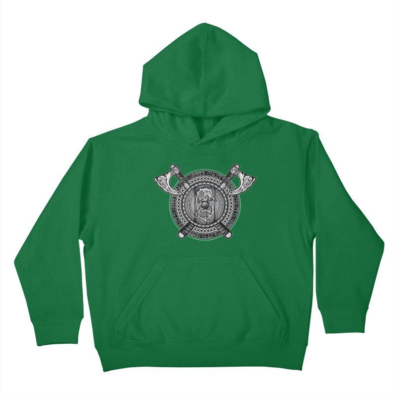 Fenrir Viking Shield (Grayscale) Kids Pullover Hoody by Celtic Hammer Club Apparel